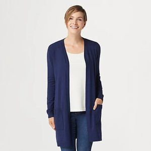 Belle by Kim Gravel Long Navy Cardigan w/ Pockets